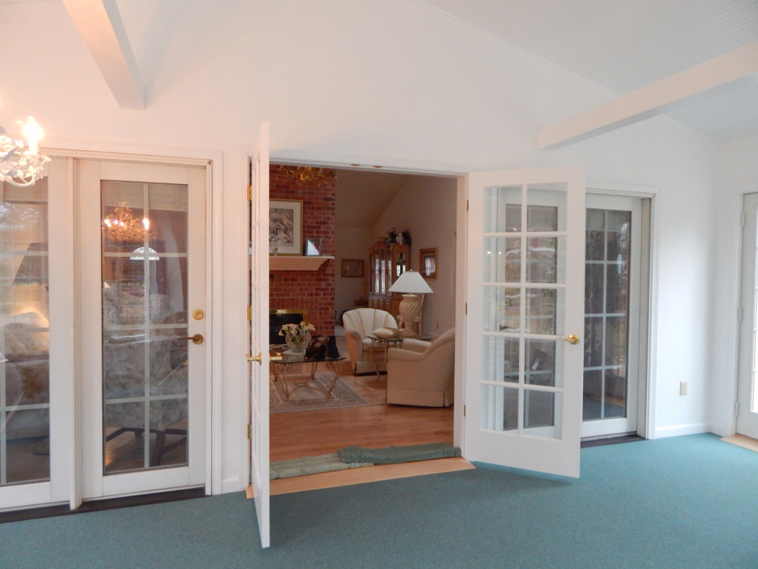French doors to the new addition